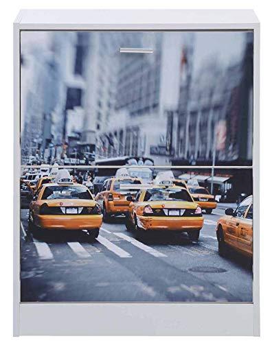 PEGANE Commode à Chaussures 2 abattants Coloris Blanc/New-York - Dim : L.60 x P.24 x H.80 cm