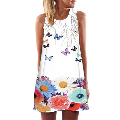 VEMOW Frauen Damen Sommer ärmellose Blume Gedruckt Tank Top Casual Schulter T-Shirt Tops Blusen Beiläufige Bluse(Y2Weiß 1, 50 DE / 3XL CN)