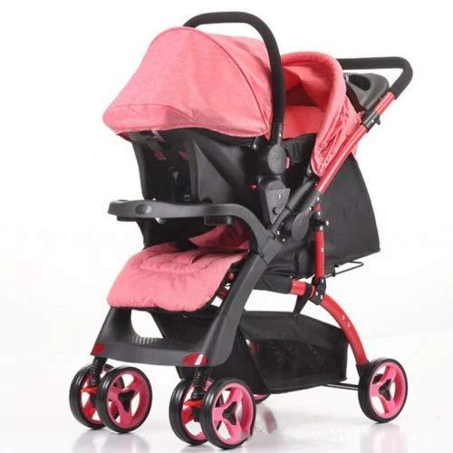 QTbabies 2 in 1 Pushchair Shopper Stroller Car Seat   Reversible Handle, Adjustable Footrest, Braking System, Multi-Function, 3 Positions, Folding   K-98KC Baby Travel System (Pink)