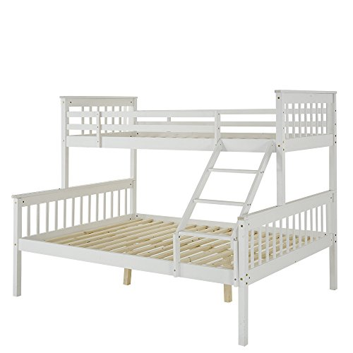 PANANASTORE 3FT and 4FT6 Pine Wood Bunk Bed, Triple Sleepers Bed Frame Bunkbed with Tilt Stepladder Slatted Base Headboard Footboard Bedroom Dorm Apartment for Adults Children Teenagers Twins (White)