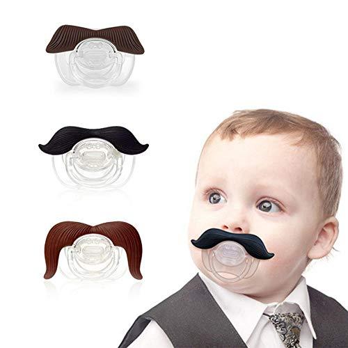 Lesgos Schnurrbart-Schnuller, 3 Stück, süßer Gentleman Schnurrbart für Baby, Neugeborene, Schnuller, Geschenk, BPA-frei, latexfrei, hergestellt mit Silikon