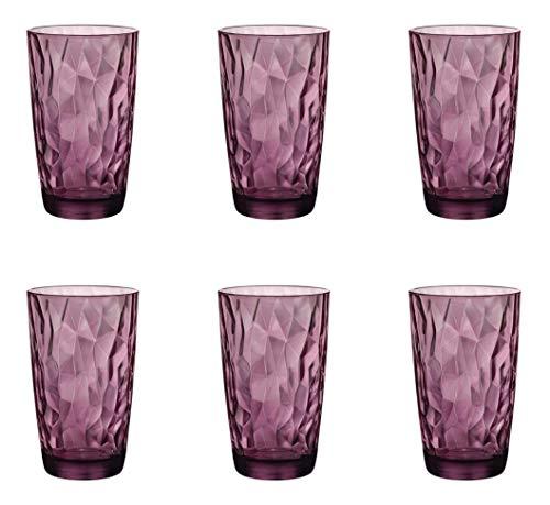 Bormioli Rocco Diamond Rock Purple boisson longue verre 470ml, fuchsia, 6 verre