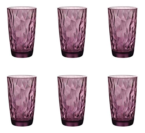Bormioli Rocco Diamond Rock Purple Long drink vidrio 470ml, rojo púrpura, 6...