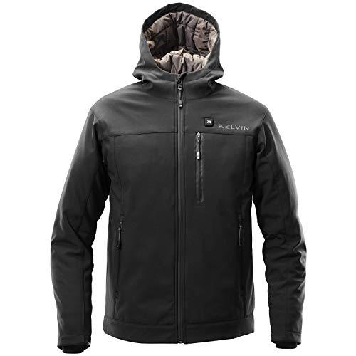 Kelvin Coats Heated Jacket for Men - 10Hr Battery, 5 Heat Zones - Jarvis, Black, Medium