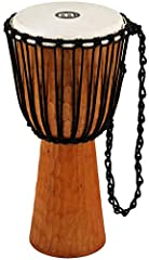 CARVED FROM SOLID MAHOGANY: The hand carved Mahogany shells feature a gouged surface. Achieve a variety of sounds, from deep bass tones to high-pitched slaps. GOAT SKIN HEAD: This high quality head is tuned with a traditional Mali-Weave system, allow...