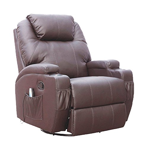 SUNCOO Massage Recliner Bonded Leather Chair Ergonomic Lounge Heated Sofa with Cup Holder 360 Degree Swivel (Manual Recliner-Brown-10 IN 1)