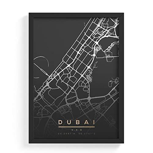 Posterdruck – Moderne Wandkunst für Wohnzimmer Schlafzimmer Dekoration für zu Hause Stadtkarte Map of Dubai UAE Cityescape Travel A1 Wandbild (594×841 mm) ungerahmt Poster Print