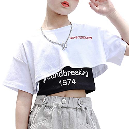 inlzdz Chándal para niña Traje de Baile de Jazz,Hip Hop para Niñas Conjunto Camiseta Corta+Top sin Manga Ropa de Moda para Niña 5-14Años Blanco&Negro 7-8 años