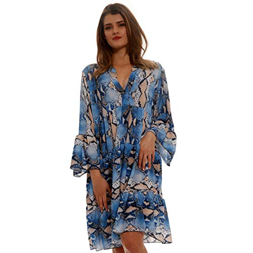 YC Fashion & Style Damen Tunika Kleid Retro Muster Boho Look Party-Kleid Freizeit-Minikleid oder Strandkleid HP219 Made in Italy (One Size,) (One Size, Snake/Royalblau)
