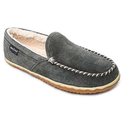Minnetonka Men's Tilden Moccasin Suede Indoor and Outdoor Slippers 9 M Grey
