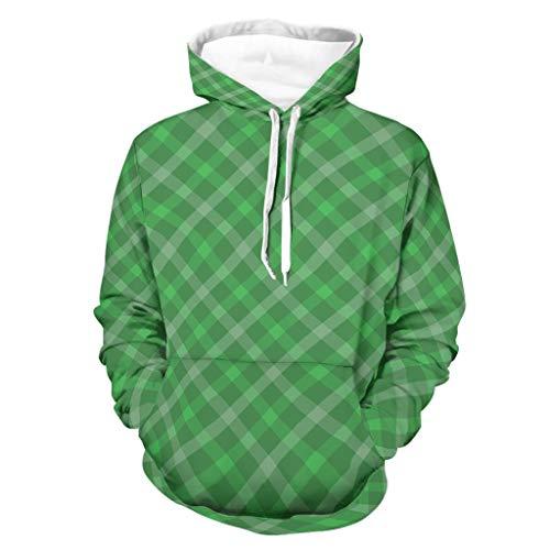 Sudadera de manga larga con capucha y bolsillos para hombre, diseño abstracto de Saint Patrick, estilo sarcástico, con rayas verdes blanco XXXXXL