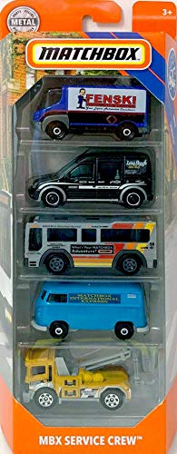 Matchbox 2019 MBX Service Crew 5-Pack (2009 International Estar, Ford Transit Connect, City Bus, VW Delivery Van, Urban Tow Truck)