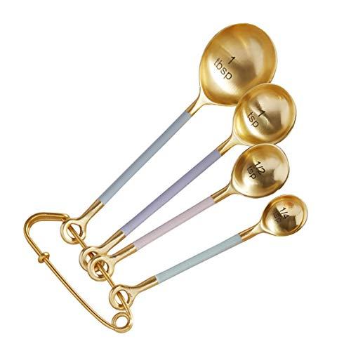 ゴールドトーンメタル計量スプーン - パステルキッチン用品4本セット