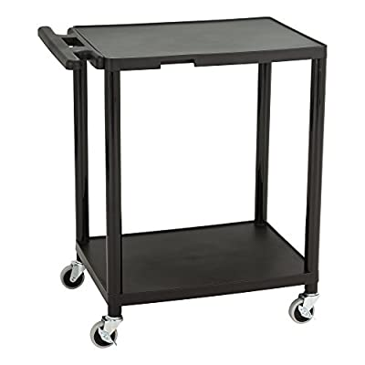 Norwood Commercial Furniture NOR-OUG142-SO Adjustable-Height Mobile Black Plastic Utility AV Cart with Power Strip