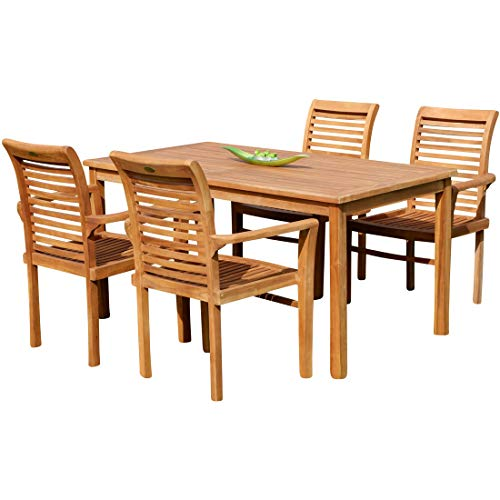 AS-S Teak Set Gartengarnitur Gartentisch 150x80 cm mit 4 Alpen Sessel Holz Serie JAV-ALPEN