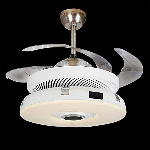 LIXDD Ventilatore Moderno a LED, Ventilatori a soffitto con purificatore d'Aria Oro Chiaro Lama Retrattile dimmerabile Integrato con Paralume glassato Telecomando Incluso Lampadario (Colore : Bianca)