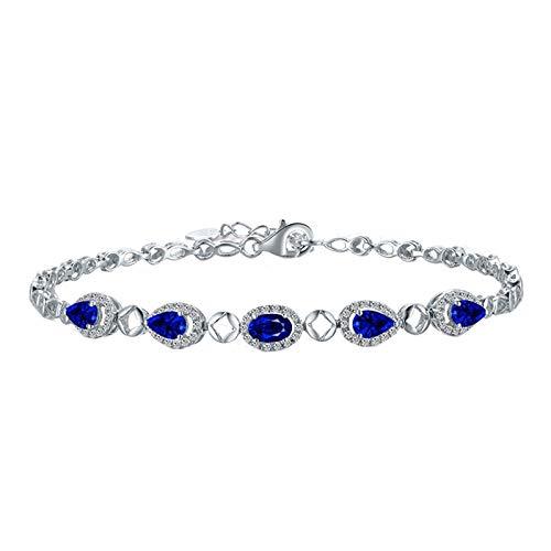 Beydodo Pulsera Mujer Plata Azul,Pulsera Oro Blanco 18k Gota de Agua con Zafiro 1.4ct Longitud 17cm + 2cm