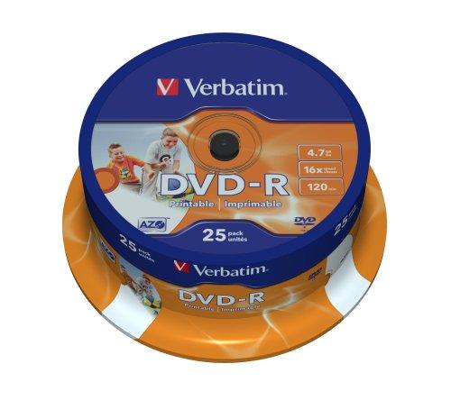 Verbatim DVD-R Wide Inkjet Printable 4.7GB I 25er Pack Spindel I DVD Rohlinge bedruckbar I 16-fache Brenngeschwindigkeit & Hardcoat Scratch Guard I DVD-R Rohlinge printable I DVD leer