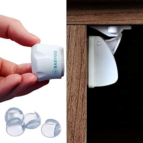 Cerraduras de Seguridad Niños Magnéticas (10 cerraduras + 2 llaves + 8 Protector de Esquina) Seguridad Puertas Niños ; Cierres de Seguridad para Niños ; Bloqueo para Bebés ; Protector Armarios Bebe