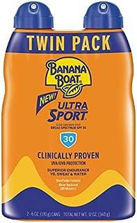 Banana Boat Sunscreen Sport Performance, Broad Spectrum Sunscreen Spray - SPF 30 - 6 Ounce Twin Pack