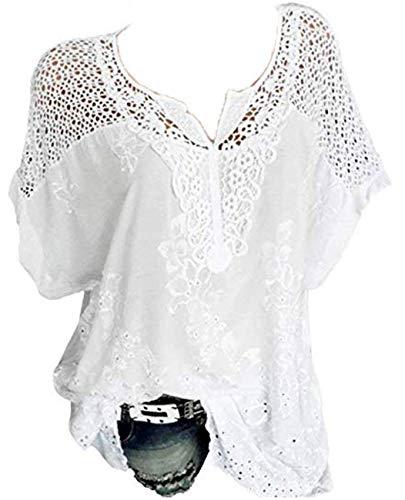 Rolanscia Damen Elegante Blusen und Tuniken Hemd Bluse Sommer Blusenshirt Festliche Shirts Kurzarm Leichte Hohl Oberteil (XXXX-Large(EU 48), Weiß)