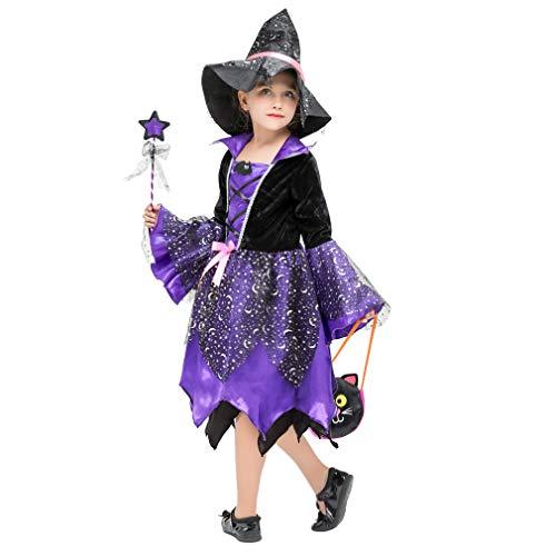 Disfraz de bruja brillante para niña, disfraz de carnaval, morado, talla S (3 a 4 años)