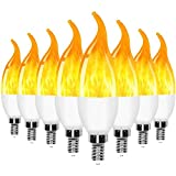 E12 Flame Bulbs LED Candelabra Light Bulbs,3 Mode Flickering Wall Lamp Chandelier Flame Effect Bulb, for Christmas Party Decorations Bar Garage Flame Lights(8 Pack)