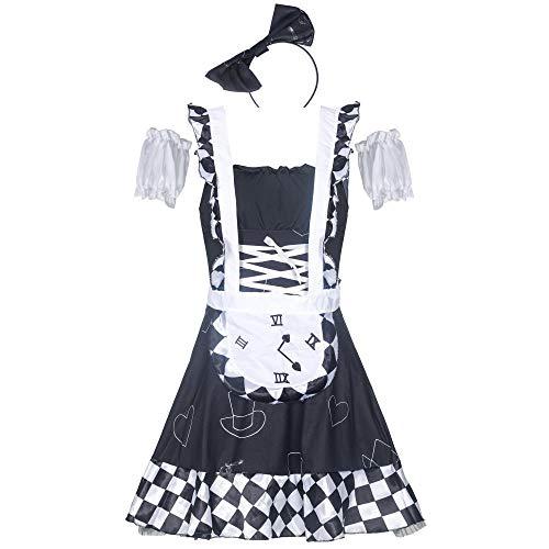 WANLOVE Mujeres Sexy Maid Juegos de rol Disfraces Cosplay Disfraz Lencera-Negro_SG