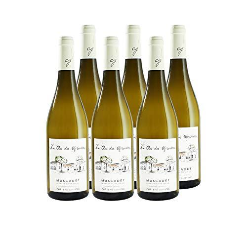 Muscadet Sèvre et Maine sur lies Le CLos des Morinières Blanc - Château Guipière - Vin AOC Blanc du Val de Loire - Cépage Melon de Bourgogne - Lot de 6x75cl