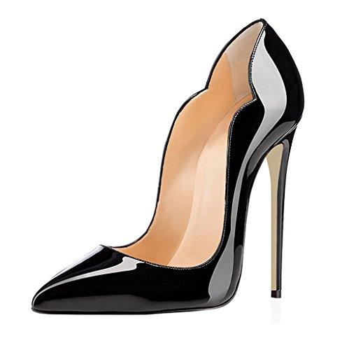 EDEFS Damen Spitze Zehe Schuhe 120mm High Heel Pumps Hohen Absätzen Geschlossen Abendschuhe Schwarz Größe EU44