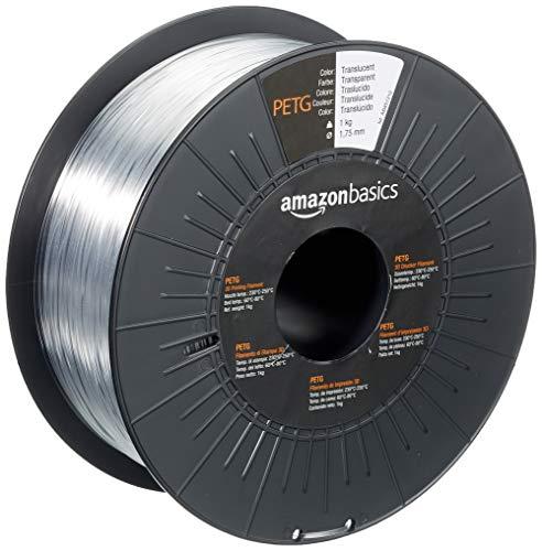 AmazonBasics - Filamento per stampanti 3D, in PETG, 1,75mm, traslucido, 1 kg per bobina