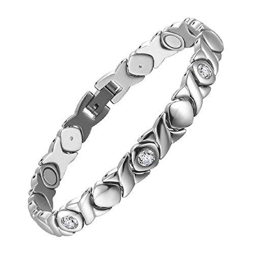 JHKJ Pulsera de recuperación magnética, pulsera de acero inoxidable para hombres, alivio del dolor para artritis y túnel carpiano pulseras sanadoras, plata