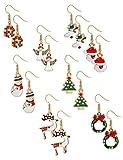 BESTEEL 8 pares Acero inoxidable Navidad Pendientes para Hombre Mujer Niña Linda Fest Vacaciones Santa Copo de nieve Monigote de nieve Reno RegaloOreja piercing Joyería