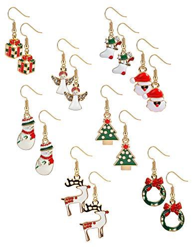 BESTEEL 8 Paare Edelstahl Weihnachten Ohrringe für Herren Damen Mädchen Kinder Baumeln Süß Fest Urlaub Weihnachtsmann Schneeflocke Schneemann Rentier Geschenk