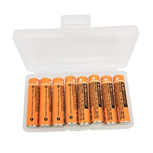 Batería AAA HR03 de repuesto para teléfonos inalámbricos Panasonic HHR-65AAABU HHR-55AAABU HHR-75AAA/B-4 Ni-MH recargable 8 piezas con caja de plástico (8 unidades HHR-55AAABU)