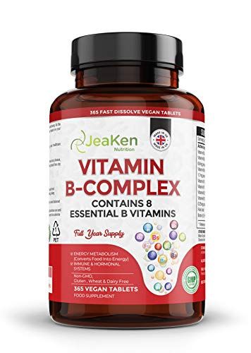 JeaKen - Vitamin B Complex HIGH Strength - 365 Vegan Tablets - 1 Year Supply- 8 Essential High Strength B Vitamins Women and Men- Vitamin B12 Supplement- Vitamins B1 B2 B3 B5 B6 Biotin and Folic Acid