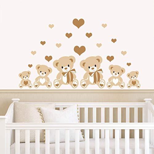 Orsetti e cuori–Adesivi murali per la camera dei bambini–prodotti da Rubybloom Designs Brown