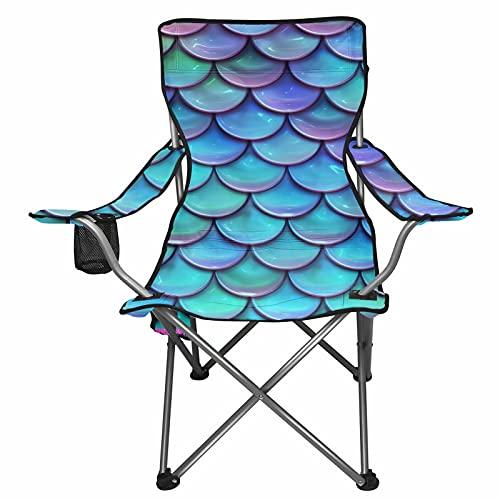 Chaqlin - Sedia pieghevole a forma di sirena, per esterni, giardino, pesca, sedia da giardino, sedia da spiaggia, per vacanze estive, sedie a sdraio (blu)