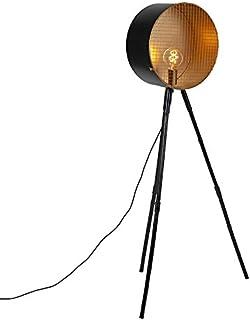 QAZQA Retro/Vintage Lámpara de pie vintage sobre trípode de bambú negro con oro - Barril Bamboo/Acero Redonda Adecuado para LED Max. 1 x 40 Watt