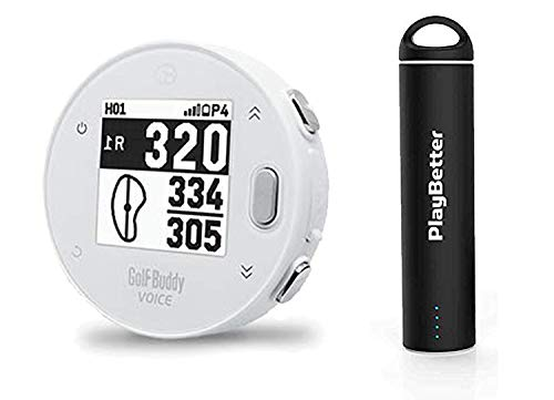 Golf Buddy Voice X with PlayBetter Portable Charger Bundle | Handheld Audio Golf GPS, 38,000 Worldwide Courses, Large Number Display, Bluetooth Updates (White, Power Bundle)