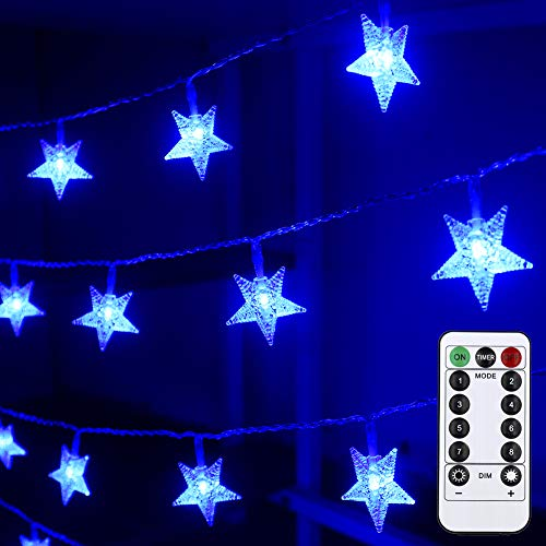 Mankinlu Star String Lights, 25 ft 50 LED Battery Operated Christmas String Light with Remote Control 8 Modes Waterproof Chanukah Lights for Hanukkah Decorations Wedding Christmas Tree Decor(Blue)