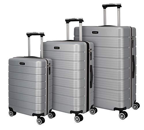 Travelite Funktionaler, smarter, starker, sportlich-eleganter Business-Reisekoffer Hartschalen Trolley Soho Koffer-Set, 77 cm, 221 Liter, Silber