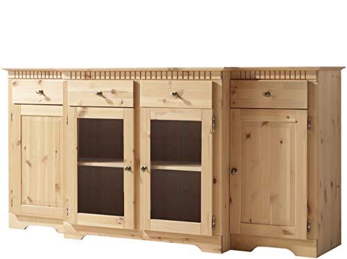 Loft24 Elizabeth 4-türig Sideboard Anrichte Küche Esszimmer Schrank 4 Schubladen Kiefer Massivholz gebeitz geölt