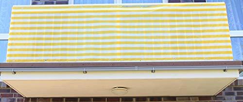 0,9 x 2 meter, Gelb&Weiß Streifen PE Balkonsichtschutz, Balkonverkleidung, Windschutz, Sichtschutz und UV-Schutz für Balkon, Gartenanlagen, Camping und Freizeit (0,9 x 2 meter, Gelb&Weiß Streifen)