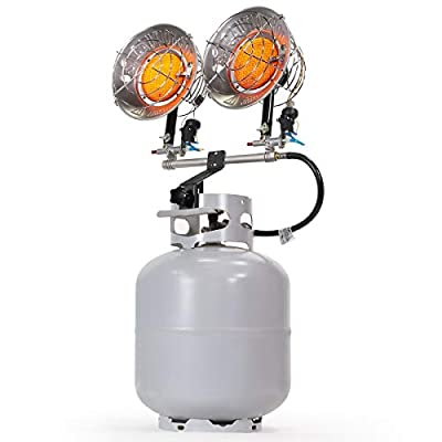 XtremepowerUS Portable 30,000 BTU Propane Tank Top Infrared Heater Double Burner Safety Shut-Off Valve & Tip-Over Switch, CSA for Outdoor