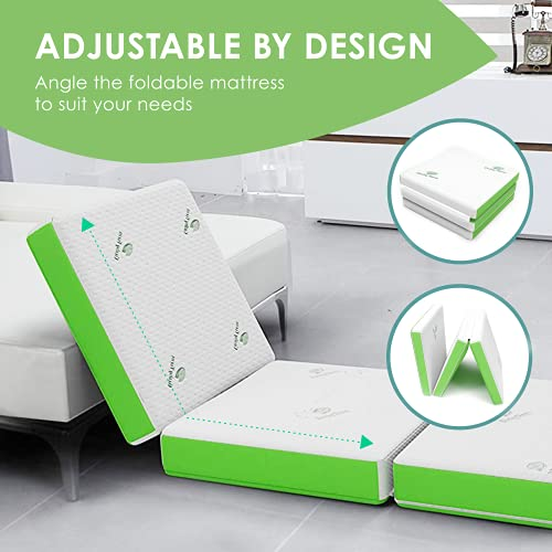 Thera Health Folding Mattress - Portable Tri-Fold Floor Bed for Travel, Camping, Guest - Foldable 4 Inch Foam Sleeping Pad w/Carry Case for Adults & Kids