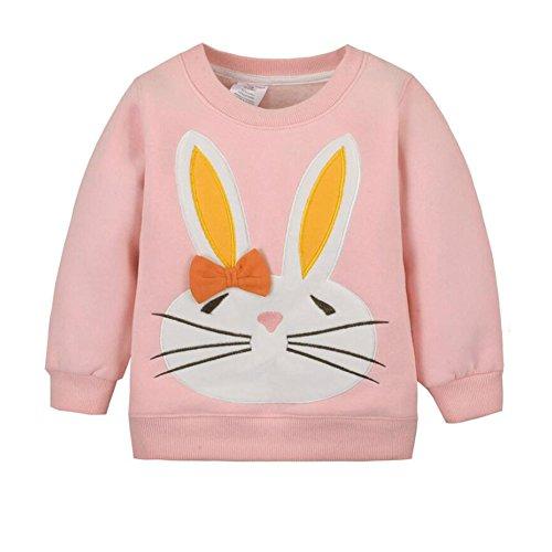 CuteOn Bébé Sweat-Shirt - Manche Longue Noël Modèle Manche Longue Pullover Chemise Rose Lapin 4 Années