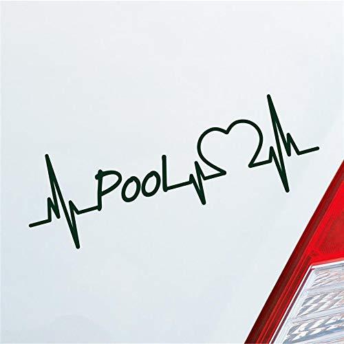 Hellweg Druckerei Auto Aufkleber Pool Herzschlag Billard Kugel Queue Sport Sticker Liebe Dunkelgrün