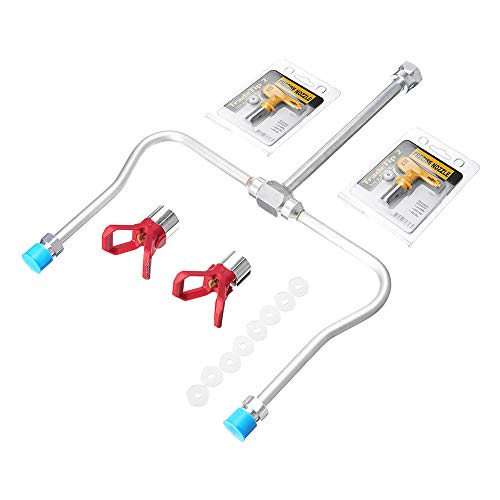 MYAMIA 13pcs Airless Paint Sprayer Extension Pole Double Zzzzle Head Guard Mit Tipps