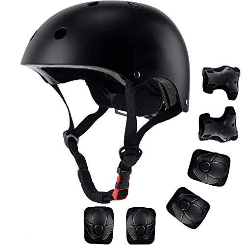 Kinderhelm, Schutzausrüstung Set Kinder Jugend Fahrradhelm Skateboard Helm Schoner Set Protektoren Set für Multisport Fahrrad Klettern Roller Skateboard 3-13 Alt (Schwarz)